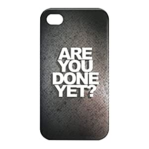 Loud Universe Apple iPhone 4/4s 3D Wrap Around Are You Done Print Cover - Black/White