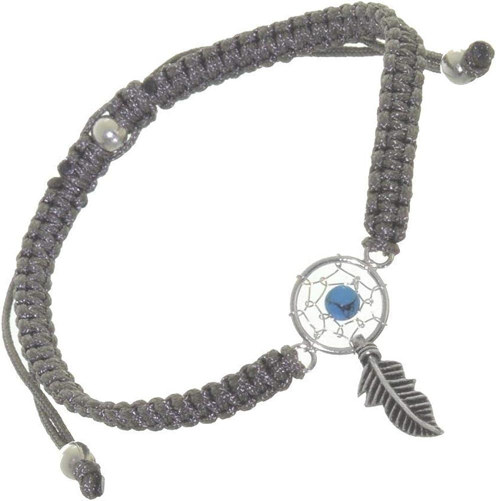 Joyería de plata de ley: pulsera ajustable con cordón gris con detalle turquesa atrapasueños (B119b)