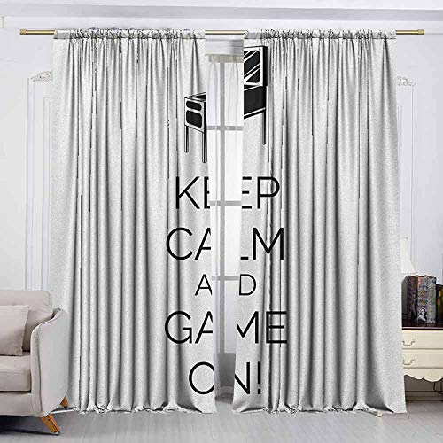 VIVIDX Exterior/Outside Curtains,Keep Calm,Pinball Machine Arcade Room Concept Keep Calm and Game On Fun Entertainment,Energy Efficient, Room Darkening,W63x63L Inches Black White
