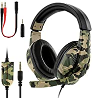 Gaming Headset for PS4/ Xbox One/PC with Microphone Noise Reduction 3.5mm Wired Converter Cable Professional H