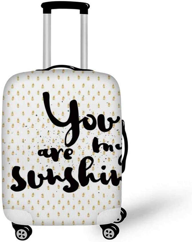 Quotes Decor Stylish Luggage Cover,Sunshine Inscription over Big Retro Dotted Background Wisdom Message Print for Luggage,L 26.3W x 30.7H