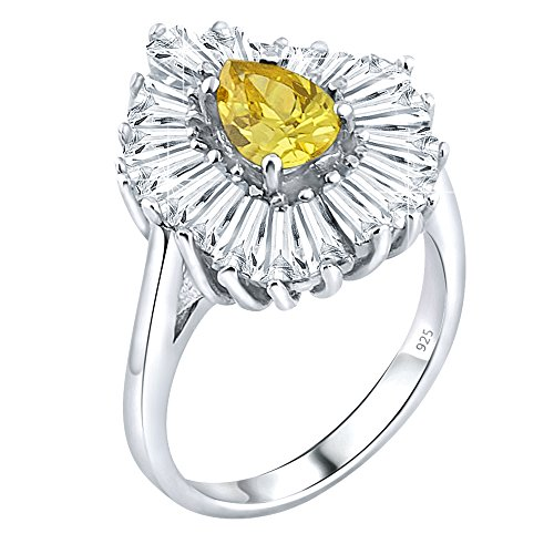 Sterling Tapered Silver High Polish (Women's Sterling Silver .925 Ring with Yellow Pear shaped center surrounded by 21 Tapered Baguette Cubic Zirconia (CZ) stones, High Polish, Appears indentical to platinum or gold)
