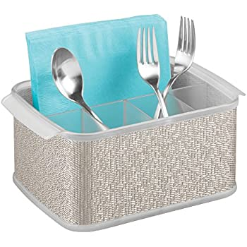 InterDesign Twillo Plastic Silverware Organizer Flatware Caddy for Kitchen Countertop Storage, Dining, Outdoor Patio, Picnic Tables, Metallico and Clear