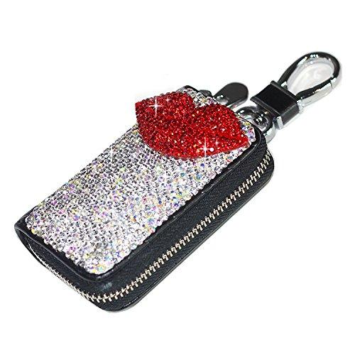 Bestbling Bling Bling Car Key Holder 3D Handmade Leather Auto Key Case Car Key Gourd Leather Holder Cover Case with Luxury Bling Crystal Diamond Rhinestones (Lips Red)
