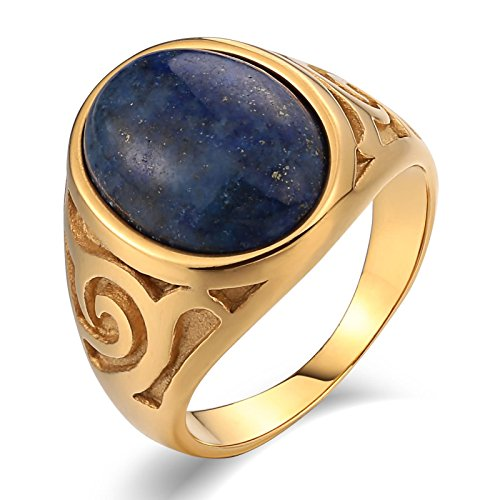 Bishilin Stainless Steel Ring Utility 1.8CM with Pattern Oval Dark Blue Opal Wedding Ring Him Gold Size 9