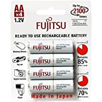 4-Pack Fujitsu AA 2000mAh 2100 Cycles Ni-MH Pre-Charged Rechargeable Batteries