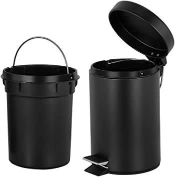Amazon Com Round Mini Trash Can With Lid Soft Close And Removable Inner Wastebasket Bathroom Trash Can With Stainless Steel Foot Pedal Anti Fingerprint Matt Finish 0 8 Gallon 3 Liter Black Industrial Scientific