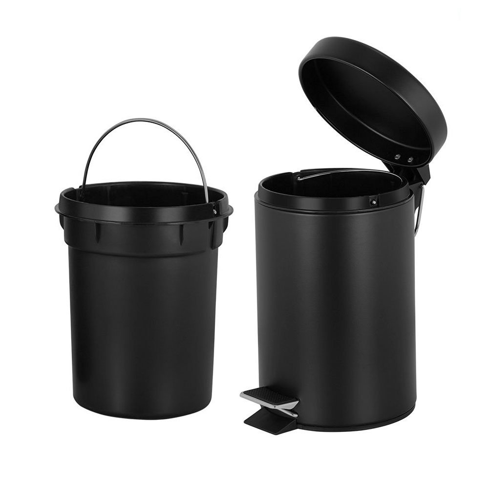 H+LUX Magdisc Round Mini Trash Can with Lid Soft Close and Removable Inner Wastebasket, Bathroom Trash Can with Stainless Steel Foot Pedal, Anti-Fingerprint Matt Finish, 0.8 Gallon/3 Liter, Black by H+LUX