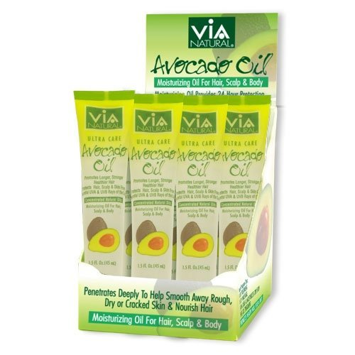- VIA Natural Ultra Care Avocado Oil Concentrated Natural Oil 1.5oz - Promotes Longer, Stronger, Healthier Hair - 6 Pack