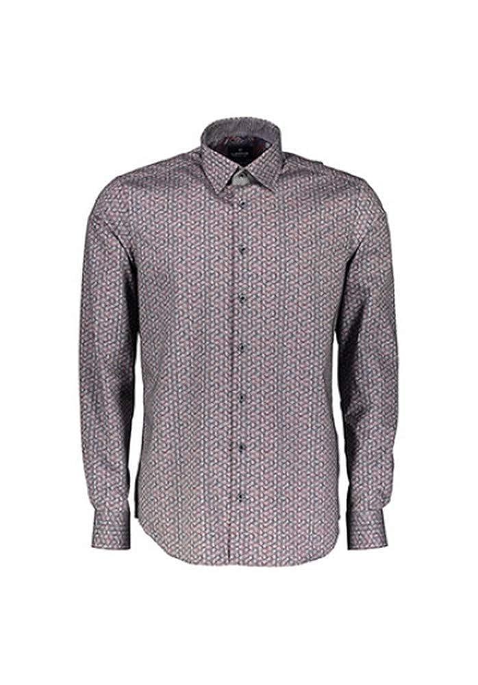 Lerros Herren Hemd Modern Fit Print hellblau beige 46D1431 418 blau
