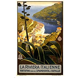 LA RIVIERA ITALIENNE vintage travel poster 1920 24X36 italian coast collectible