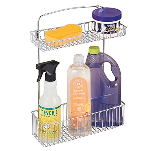 mDesign Wall Mount Kitchen Storage Organizer Holder or Basket - Hang on Cabinet Doors in Kitchen/Pantry - Holds Dish Soap, Window Cleaner, Sponges - Steel Wire in Chrome Finish