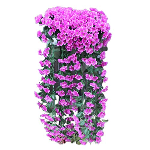 (shamrock58 Artificial Violet Flower Wall Wisteria Basket Hanging Garland Vine Flowers Fake Silk Orchid (Purple))