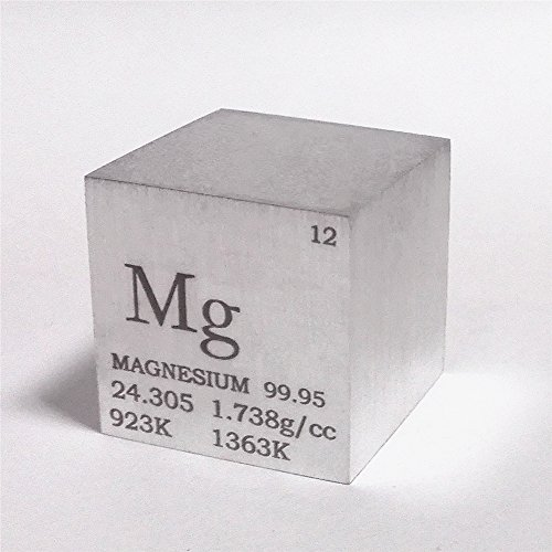 1 inch 25.4mm Magnesium Metal Cube 28g 99.95% Engraved Periodic Table by Chinaium