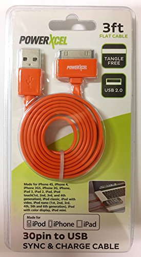 30 Pin To Usb 3Ft Flat Tangle Free Data Sync And Charge Cable For Ipod  Iphone  Ipad  Orange