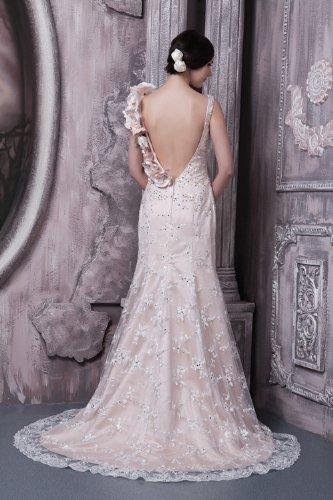 BRIDE Brautkleid Hochzeitskleider ueber Satin Vierkantansatz Brautkleider Spitze Prinzessin Rueckenfrei GEORGE Weiß 0wdqFC