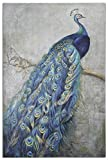 Hand Painted Peacock Canvas Oil Painting for Home Wall Art Decoration, Not a Print/ Giclee/ Poster, FRAMED