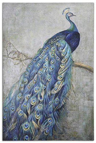 Hand Painted Peacock Canvas Oil Painting for Home Wall Art Decoration, Not a Print/ Giclee/ Poster, FRAMED by Generic