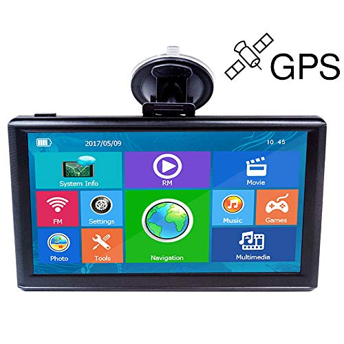 E-ACE GPS Navigation for Car 7 Inch Touch Screen 8GB Vehicle GPS Navigator System Built-in Multimedia Entertainment Advanced Lane Guidance and Spoken Turn-by-Turn Directions with Lifetime Map Update