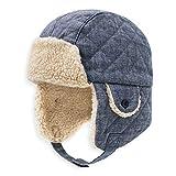 Keepersheep Todder Baby Boys' Ushanka Earflap Winter Bomber Hat Cap, Kids' Trapper Hat Bomber Hat (3-4T, Denim Blue)