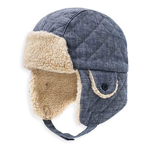 (Todder Baby Boys' Ushanka Earflap Winter Hat Cap, Keepersheep Kids' Trapper Hat Hat (3-9 months, Denim Blue))