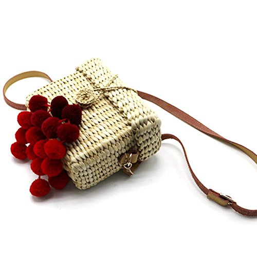 Handbag Tote Women Straw Ribbon Rectangle for Bag Crossbody Red Bag Bag Camping Beach Outdoor Woven Hiking Beach Travel Wine 65qYa5