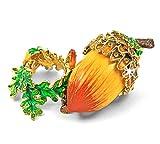 """Objet D'Art Release #116 """"The Little Oak"""" Fall Season Acorn on Stand Handmade Jeweled Metal & Enamel Trinket Box"""