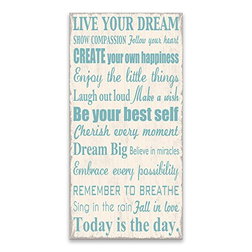 Artissimo Designs 33586CPBG0 Live Your Dream 1-Piece Sign Image Printed Canvas Art, 30 by 15-Inch, White/Blue from Artissimo Designs