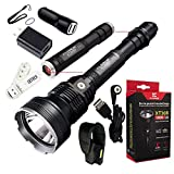 Klarus XT30R CREE XHP35 HI D4 LED 1800 Lumens 2 x 18650 3400mAh Rechargeable Extended Range Programmable Rescue/ Hunting Flashlight with SKYBEN Adaptor,Car Charger and USB Light