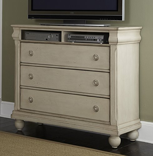 Liberty Furniture Rustic Traditions II Bedroom Media Chest, Rustic White Finish