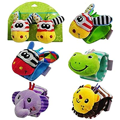 Detailorpin Unisex Baby Animal Plush Pattern Baby Wrist Band with Rattle: Toys & Games
