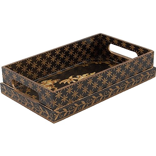 Home decor. Gold and Black Vanity Tray. Pattern: Chinoiserie