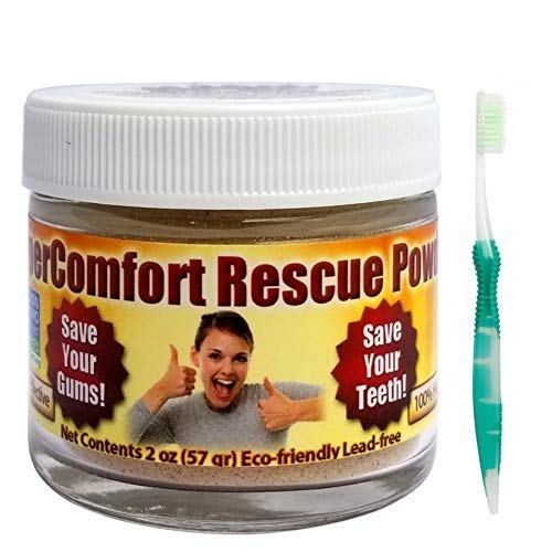 Gum Disease Help! Dental Rescue Combo - Rescue Tooth & Gum Powder & Effective Flossing Toothbrush - Helps Reduce Gum Recession, Helps to Remove Plaque, Helps with Gingivitis, Helps Bleeding Gums