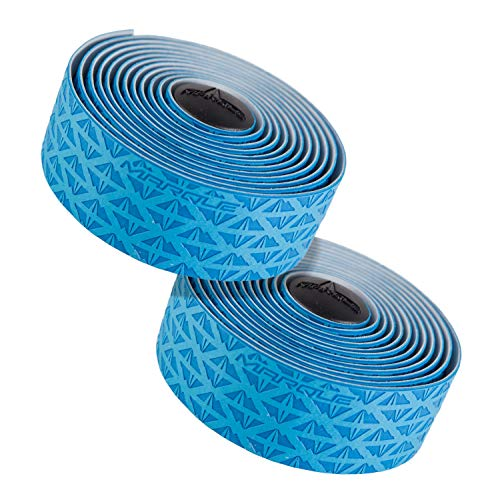 MARQUE Peak Pattern Bar Tape - Road Bike Handlebar Wrap with Tacky Non-Slip Grip and Padded Vex Gel Silicone Backing - 2PCS per Set (Peak Blue)