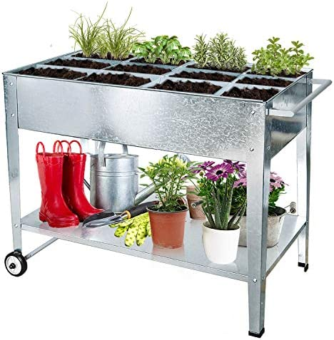 125 x 57 x 31 cm Grey Raised Bed Balcony Metal Garden Bed Flower Box Planter Made of Galvanised Steel for Plants Vegetables