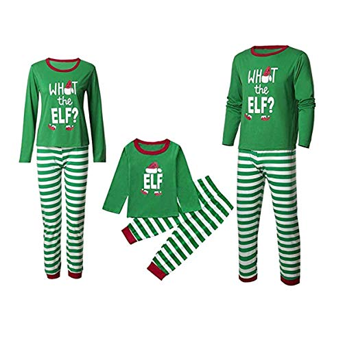Family Matching Christmas Pajamas -What The ELF Letter Printed Long Sleeve Top and Stripe Pants PJS Sets Loungewear (Dad, -