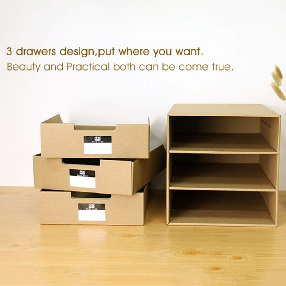KathShop TS-1503 Multi-Layers Kraft Paper Files Documents Cabinet DIY Home Office Organizer Documents Container Box