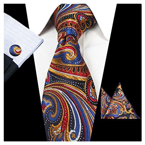 JEMYGINS Paisley Necktie Tie and Pocket Square Cufflink Set for Men (Paisley Tie)
