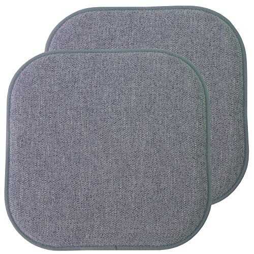 "Sweet Home Collection Chair Cushion Memory Foam Pads Honeycomb Pattern Slip Non Skid Rubber Back Rounded Square 16"" x 16"" Seat Cover, 2 Pack, Alexis Blue/Gray"