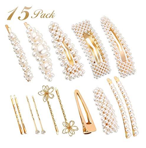 Souarts 15PCS Pearl Hair Clips Hair Pins for Women Girls 2019 Fashion New Styles Gold Hair Pins Pearl Barrettes Wedding Bridal Accessories