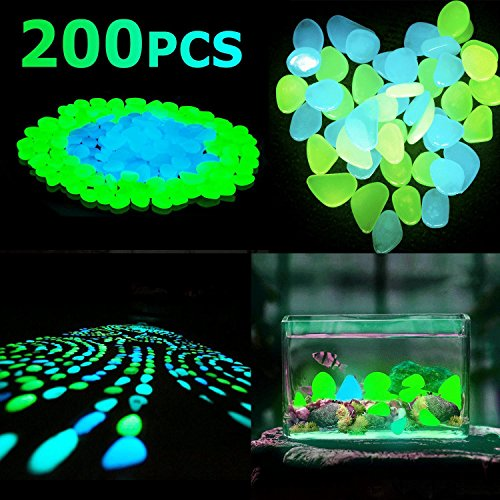 Luminous Pebbles Glow Stones, Glow in the Dark Pebbles, Resin DIY Decorative Stones/Gravel, Ideal for Fish Tank/Aquarium/Flower Pots/Landscape (100pcs Bule + 100pcs Green)