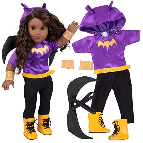 Batgirl Inspired Doll Outfit (6 Piece Set) - Super Hero Halloween Costume Fits American Girl & All 18 Dolls - Includes Clothes & Accessories - Premium Quality Apparel