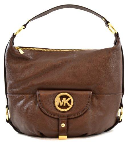 Michael Kors Fulton Genuine Leather Large Shoulder Bag Purse Handbag (Mocha), Bags Central