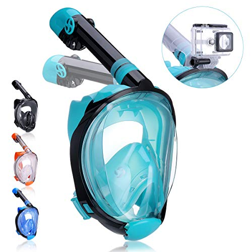 QingSong Full Face Snorkel Mask, Snorkeling Mask with Advanced Safety Breathing System, Give You A Natural & Safe Snorkeling Experience, Foldable 180 Panoramic Snorkel Set for Adults & Youth