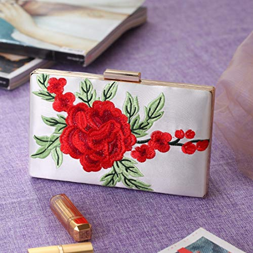 Rose Flash Bag Dinner Version Evening Bag Bag Women's Bag Fly New Dress Tide Embroidered Bag Korean Spot Package The White Clutch npTqgIPq7