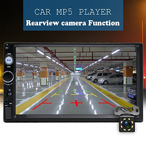 Camecho Double Din Car Stereo, Mirror Link 7'' HD Bluetooth Player Digital Monitor Touchscreen, Support USB/FM/TF/MP5 Multimedia 2 din Mobile Phone interconnection Car Backup Camera+ Remote Control by Camecho (Image #1)