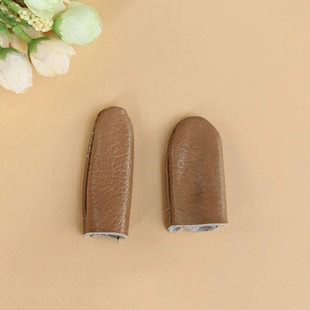 Gilroy 5 Pairs Needle Felting Leather Finger Protector Knitting Random Color Thumb Index Thimble Guard Embroidery Needlework Accessory Random Color