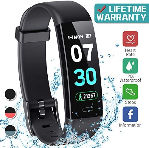 K-berho Fitness Tracker Activity Tracker with Heart Rate Monitor Step Counter Watch, Sleep Monitor Tracker Pedometer Watch Calorie Counter Watch Waterproof Smart Fitness Watch for iPhone and Android