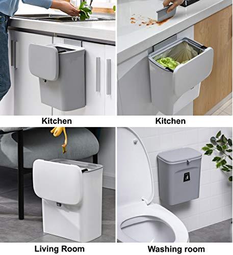 512wfo9LZWL Curious Fish Wandküchenschrank Tür Hängende Tür Kunststoff-Mülleimer mit Deckel Schiebeabdeckung unter Waschbecken…