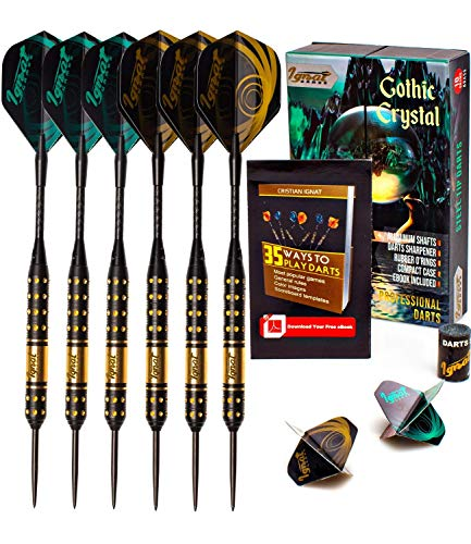 IgnatGames Steel Tip Darts Set - Professional Darts with Aluminum Shafts, Rubber O'Rings, and Extra Flights + Dart Sharpener + Innovative Case + Darts Guide (18g Gothic Crystal) (Dart Tips Steel Replacement)